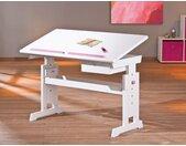 Kinderschreibtisch BARU weiß lackiert verstellbar mit Schublade