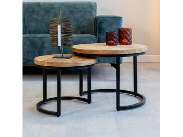 Calla Couchtisch-Set Industrial Mangoholz 3cm Platte