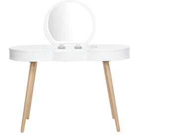 Skandinavischer Frisiertisch Holz Weiß Spiegel rund NUBE