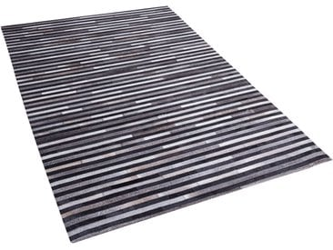 Teppich Kuhfell schwarz-grau 140 x 200 cm Streifenmuster ATALAR