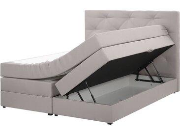 Boxspringbett Polsterbezug mit Bettkasten hochklappbar hellgrau 160 x 200 cm MILORD
