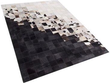 Teppich Kuhfell weiß / schwarz 160 x 230 cm Patchwork Kurzflor KEMAH