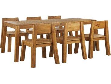 Gartenmöbel Set Akazienholz hellbraun 6-Sitzer LIVORNO