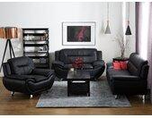 Sofa Set Kunstleder schwarz 6-Sitzer LEIRA
