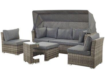 Lounge Set Rattan Auflagen grau modular 6-Sitzer CORTE
