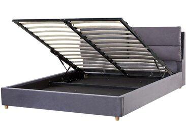 Polsterbett Samtstoff grau mit Bettkasten hochklappbar 160 x 200 cm BATILLY