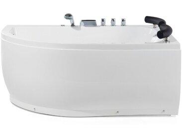 Whirlpool-Badewanne weiß Eckmodell mit LED 160 cm links PARADISO