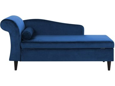 Chaiselongue Samtstoff marineblau linksseitig LUIRO