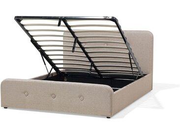 Polsterbett Leinenoptik beige mit Bettkasten hochklappbar 140 x 200 cm RENNES