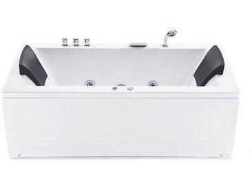 Whirlpool-Badewanne weiß mit LED links VARADERO