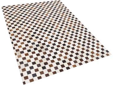 Teppich Kuhfell beige / braun 160 x 230 cm Patchwork Kurzflor KAYABEY