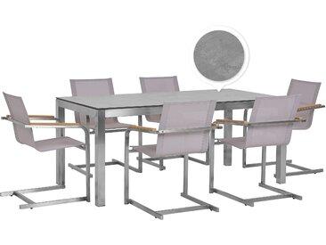 Gartenmöbel Set Betonoptik 180 cm 6-Sitzer Textil beige GROSSETO / COSOLETO