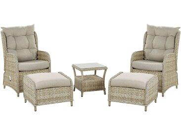 Lounge Set Rattan hellbraun 2-Sitzer Auflagen beige PONZA