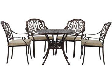 Gartenmöbel Set Aluminium dunkelbraun 4-Sitzer ANCONA