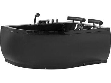Whirlpool-Badewanne schwarz Eckmodell mit LED 160 cm links PARADISO