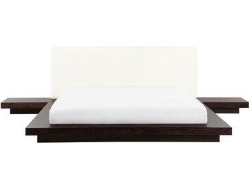 Wasserbett dunkler Holzfarbton 160 x 200 cm ZEN