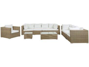 Lounge Set Rattan hellbraun 8-Sitzer Auflagen cremeweiß MAESTRO II
