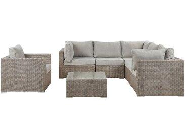 Lounge Set Rattan taupe 6-Sitzer Auflagen hellgrau CONTARE