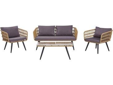 Gartenmöbel Set Rattan beige 4-Sitzer Auflagen graphitgrau FOBELLO