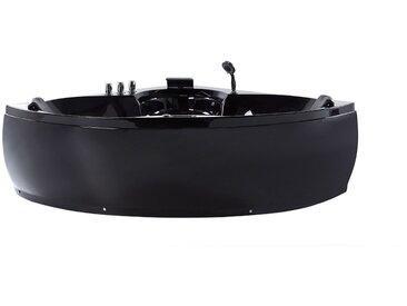 Whirlpool Badewanne schwarz Eckmodell mit LED 150 cm SENADO