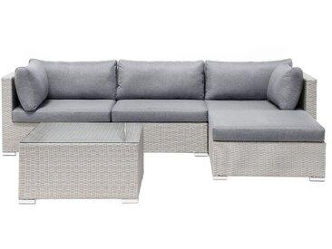 Lounge Set Rattan grau 4-Sitzer SANO II