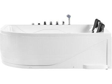 Whirlpool-Badewanne weiß Eckmodell mit LED 180 cm links PELAITA