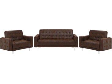 Sofa Set Lederoptik Old Style braun ABERDEEN