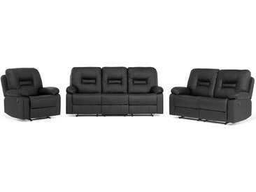 Sofa Set Kunstleder schwarz 6-Sitzer verstellbar BERGEN