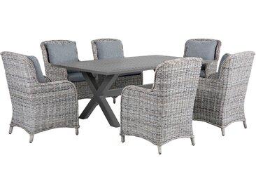 Gartenmöbel Set Aluminium grau 6-Sitzer CASCAIS