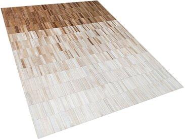 Teppich Kuhfell beige 160 x 230 cm Patchwork Kurzflor YAGDA