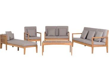 Lounge Set zertifiziertes Holz hellbraun 7-Sitzer Auflagen grau PATAJA