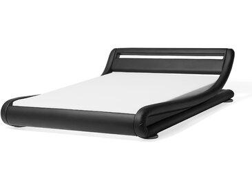 Wasserbett Kunstleder schwarz 180 x 200 cm mit LED-Beleuchtung AVIGNON