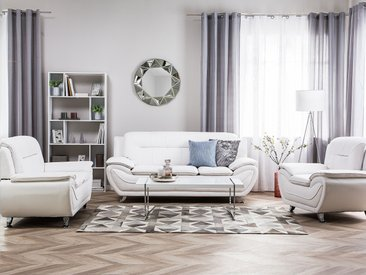 Sofa Set Kunstleder weiß 6-Sitzer LEIRA