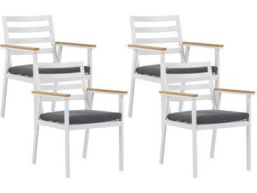 Gartenstuhl weiß 4er Set Aluminium CAVOLI