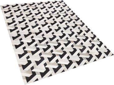 Teppich Kuhfell schwarz / grau 160 x 230 cm Patchwork Kurzflor NARMAN