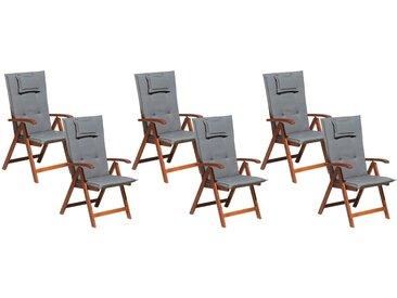 Gartenstuhl Akazienholz Auflagen graphitgrau 6er Set TOSCANA