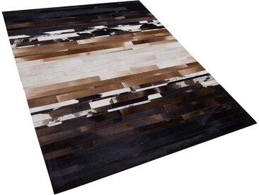 Teppich Kuhfell schwarz-beige 160 x 230 cm Patchwork DALYAN