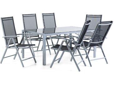 Gartenmöbel Set Aluminium schwarz 6-Sitzer CATANIA