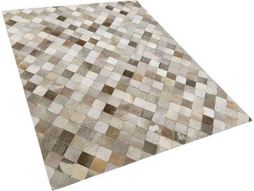 Teppich Kuhfell grau / braun 160 x 230 cm kariertes Muster Kurzflor BANAZ