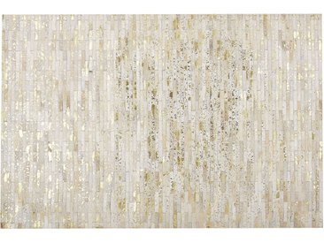 Teppich Kuhfell beige / gold 140 x 200 cm Patchwork Kurzflor TOKUL