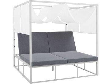 Sonnenbett mit Sonnendach Aluminium weiß Auflagen grau verstellbar PALLANZA