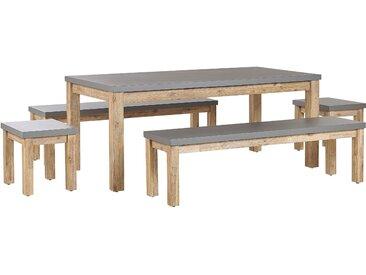 Gartenmöbel Set Beton / Akazienholz grau 8-Sitzer 2 Bänke 2 Hocker OSTUNI