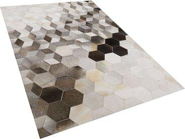 Teppich Kuhfell grau / weiß 140 x 200 cm geometrisches Muster Kurzflor SASON