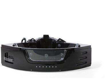 Whirlpool-Badewanne Schwarz Eckmodell mit LED 155 cm MARTINICA