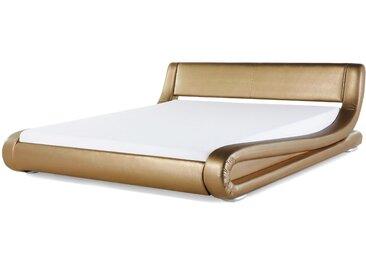 Wasserbett Leder gold 160 x 200 cm AVIGNON