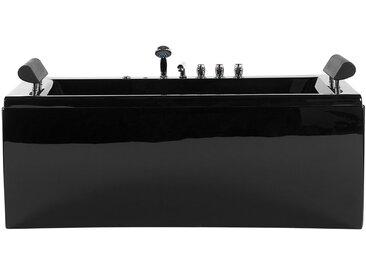 Whirlpool-Badewanne schwarz mit LED 170 cm MONTEGO