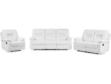 Sofa Set Kunstleder weiß 6-Sitzer verstellbar BERGEN