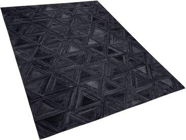 Teppich Kuhfell schwarz 160 x 230 cm geometrisches Muster KASAR