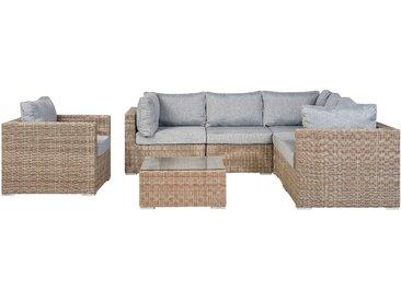 Lounge Set Rattan hellbraun 6-Sitzer Auflagen hellgrau CONTARE