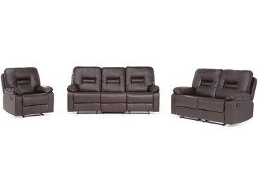 Sofa Set Kunstleder braun 6-Sitzer verstellbar BERGEN
